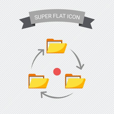 circulation of documents: Icon of folders with documents arranged in circle with arrows