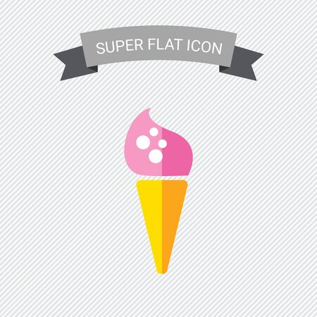 waffle cone: Icon of pink ice cream in waffle cone Illustration