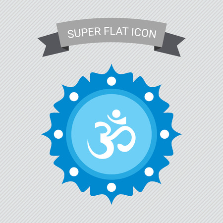 sanskrit: Icon of om sign on background with floral elements Stock Photo