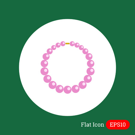 beads: Icon of necklace made of pink beads Illustration