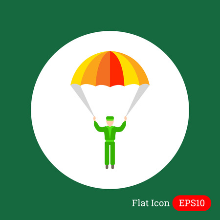 parachute jump: Icon of mans silhouette with parachute Illustration