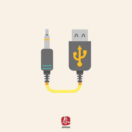 interconnect: Icon of mini USB to jack cable