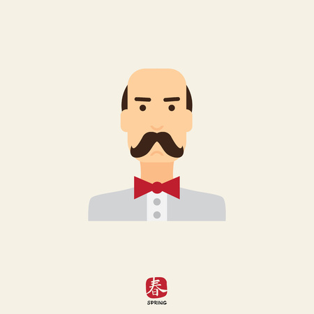 black head and moustache: Male character icon, portrait of balding man wearing moustache