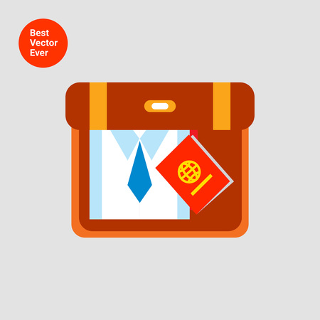 overseas: Icon of suitcase with folded shirt, necktie and passport