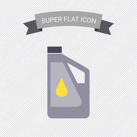 Icon of plastic bottle of engine oil with oil drop picture on label Illustration