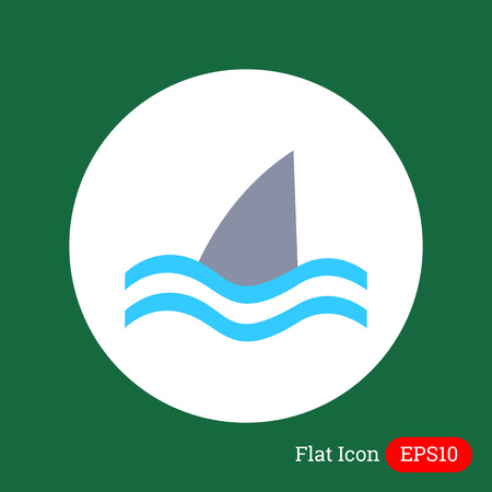 fin swimming: Icon of swimming shark fin above water Illustration