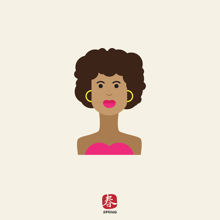 blank expression: Female character icon, portrait of young African American  woman