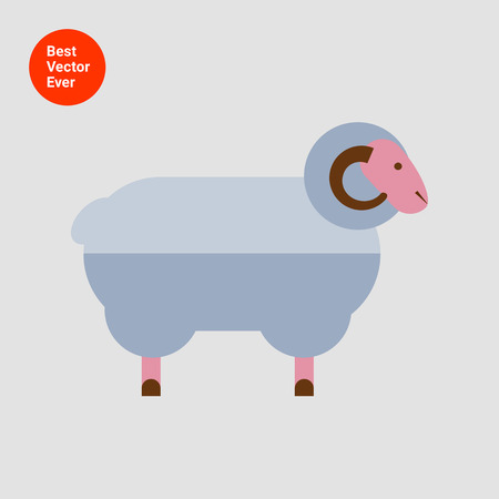 sheep sign: Ram icon Illustration