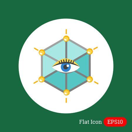 ojo humano: Icon of human eye in hexagon