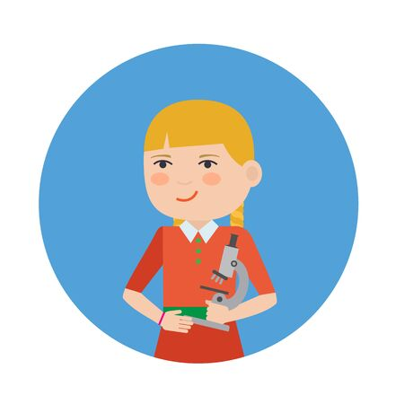 blonde hair cartoon: Female character, portrait of smiling girl holding microscope Illustration