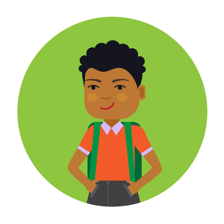 schoolboy: Male character, portrait of smiling African American schoolboy with backpack