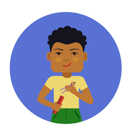 schoolboy: Male character, portrait of smiling African American schoolboy holding ruler and compasses