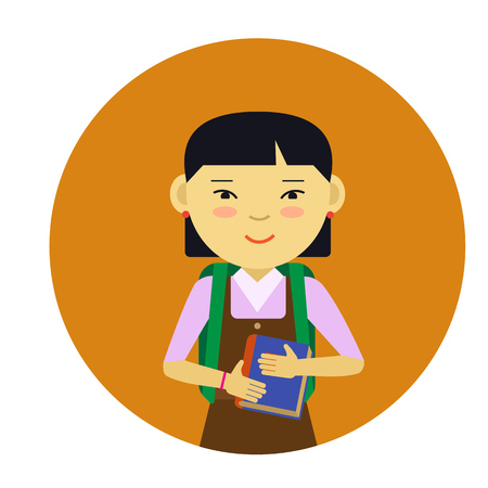 pinafore: Female character, portrait of smiling Asian schoolgirl holding book