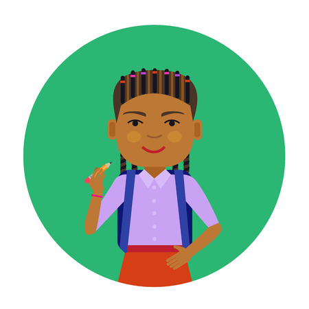 african american: Female character, portrait of smiling African American schoolgirl holding pencil