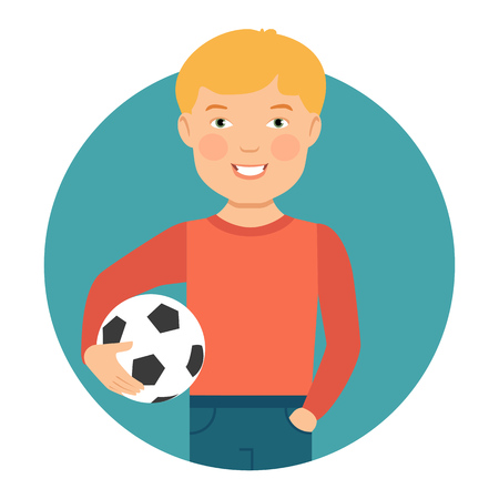 boy smiling: Male character, portrait of smiling boy holding football ball Illustration