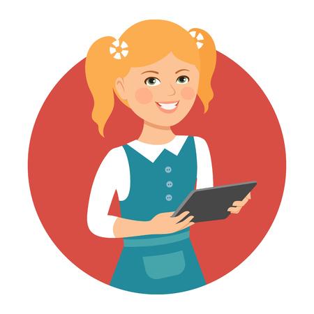 computador tablet: Female character, portrait of smiling girl holding tablet computer Ilustração