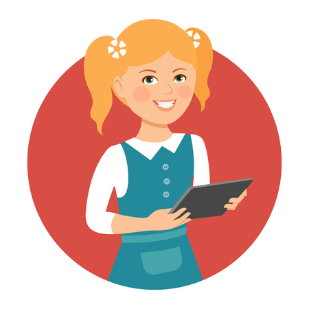 pinafore: Female character, portrait of smiling girl holding tablet computer Illustration