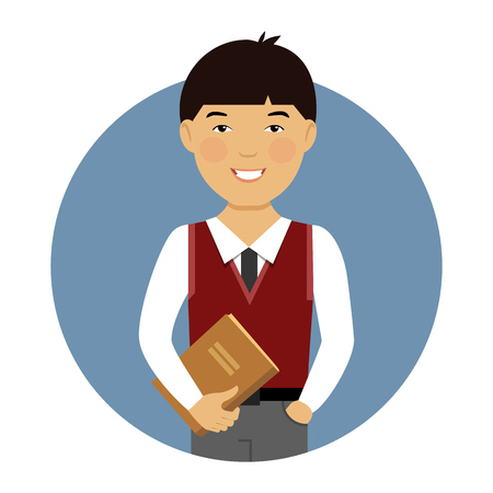 teen boy: Male character, portrait of smiling Asian schoolboy holding book
