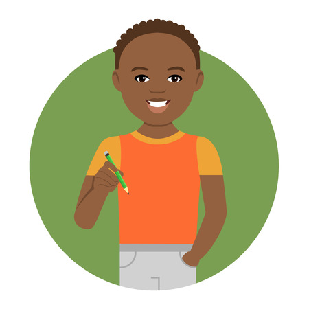 schoolboy: Male character, portrait of smiling African American schoolboy holding pencil