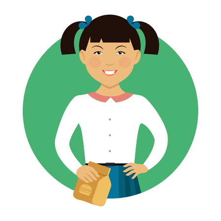 medium length: Female character, portrait of smiling Asian schoolgirl holding paper bag with lunch