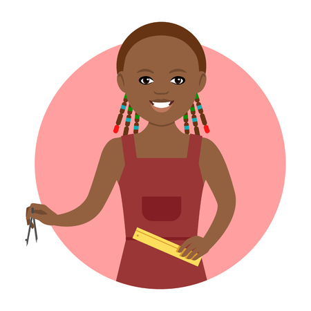 adolescent african american: Female character, portrait of smiling African American schoolgirl holding ruler and compasses
