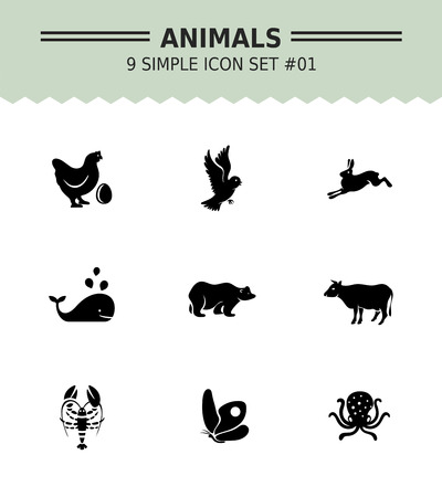 domestic animals: Set of vector icons with wild and domestic animals concepts, isolated on white Illustration