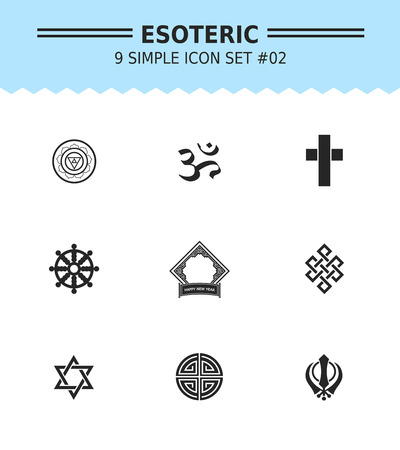 blessings: Set of vector icons with religious sing and symbol concepts, isolated on white