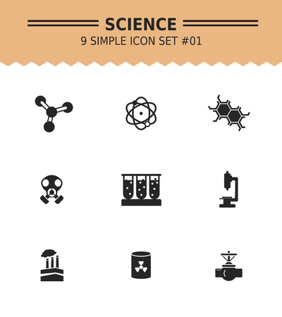 protective gas mask: Set of vector icons with science concept, isolated on white