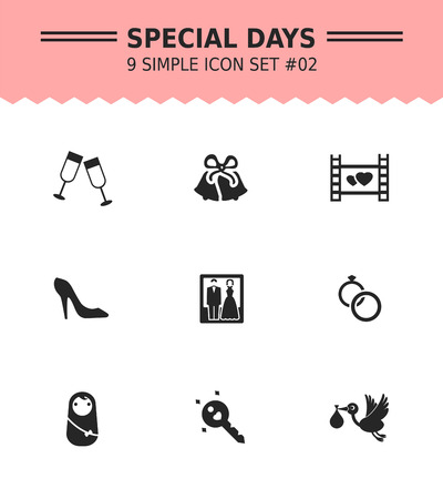 event icon: Set of vector icons with special days and occasions concepts, isolated on white