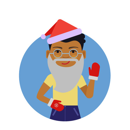 wearing santa hat: Male character, portrait of African American boy wearing Santa hat and mittens