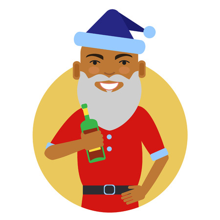 african american: Male character, portrait of African American man wearing Santa costume, holding bottle Illustration