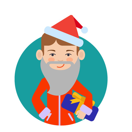 boy smiling: Male character, portrait of smiling boy wearing Santa costume and fake beard, holding gift box