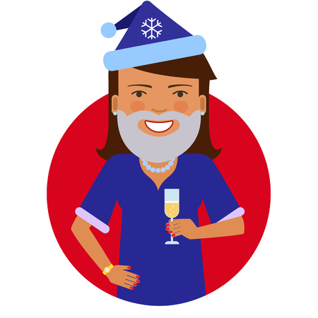 middle aged woman: Female character, portrait of smiling woman wearing Santa costume and holding glass of champagne Illustration