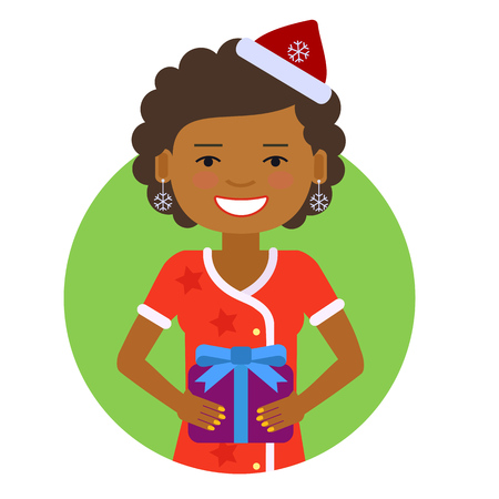 woman short hair: Female character, portrait of smiling woman wearing Santa costume, holding gift box