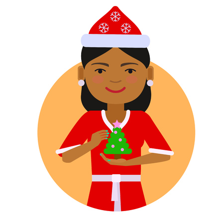 african american woman: Female character, portrait of African American woman wearing Santa costume, holding Christmas tree