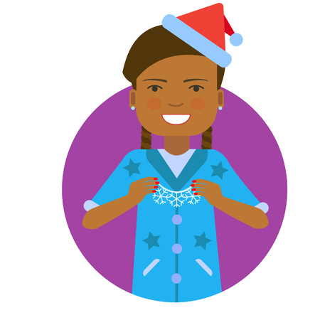 african american woman: Female character, portrait of African American woman wearing Santa costume, holding Christmas ornament