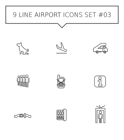 mini bar: Set of vector icons with airport concept, isolated on white