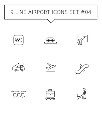 Set of vector icons with airport concept, isolated on white