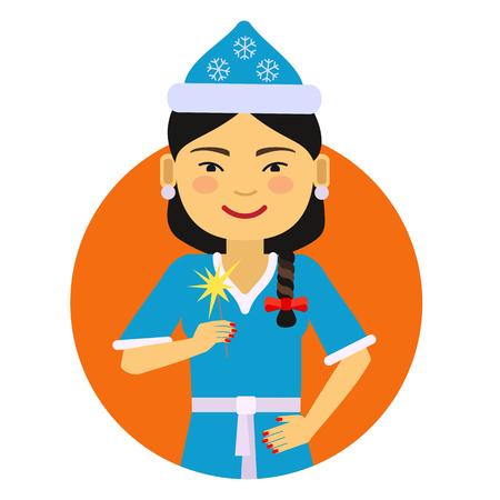sparkler: Female character, portrait of Asian woman wearing Santa costume, holding sparkler