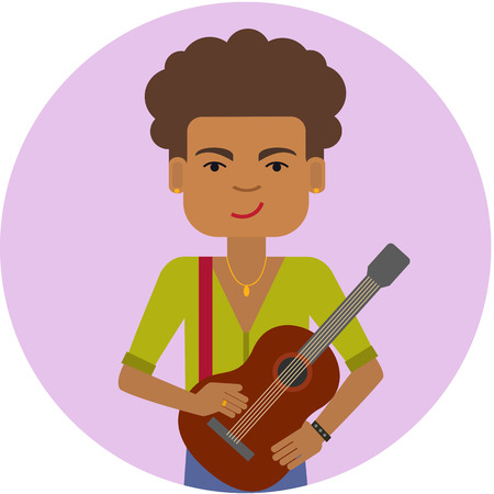 african american: Male character, portrait of smiling African American man holding guitar