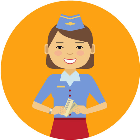 hostess: Female character, portrait of smiling air hostess holding tickets Illustration