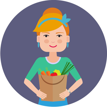 female portrait: Female character, portrait of smiling woman holding paper bag filled with vegetables Illustration