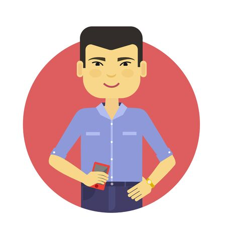 male: Male character, portrait of smiling Asian man holding smartphone Illustration