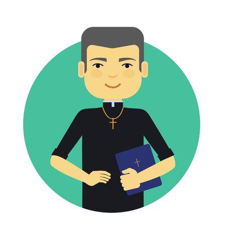 sacerdote: Personaje masculino, retrato sonriente sacerdote de celebraci�n de la Biblia