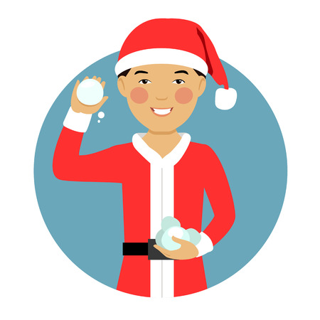 teenage boy: Male character, portrait of smiling Asian teenage boy wearing Santa costume, holding snowballs Illustration