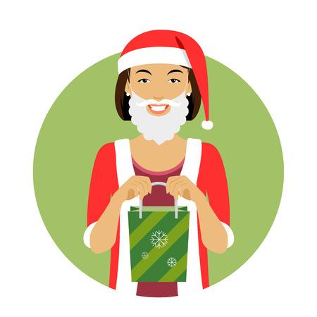 medium length hair: Female character, portrait of smiling woman wearing Santa costume, holding green gift bag Illustration