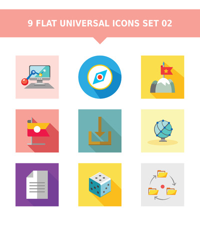 documents circulation: Set of vector icons with various concepts, isolated on white