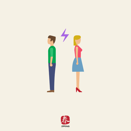 tornitura: Icon of man and woman turning back to each other with lightning sign between them Vettoriali