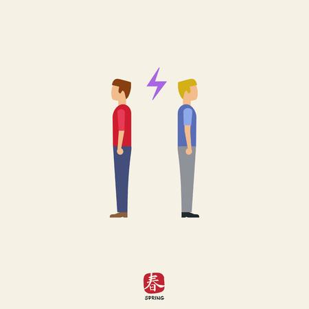 tornitura: Icona di due uomini tornare indietro gli uni agli altri con un fulmine segno tra di loro Vettoriali
