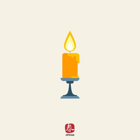 sconce: Icono de la vela ardiente en l�mpara de pared